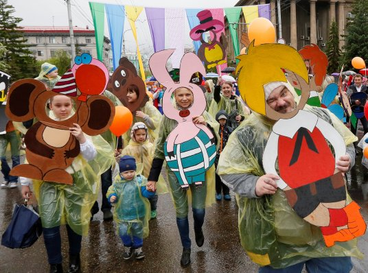 Participants attend an annual carnival to celebrate International Children's Day in Krasnoyarsk