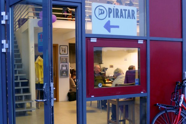 The entrance of the Icelandic Pirate Party headquarters in Reykjavik