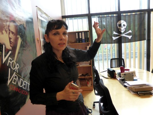 Leader of the Pirate Party of Iceland Jonsdottir, poses for a picture at the party's office in the Icelandic Parliament in Reykjavik